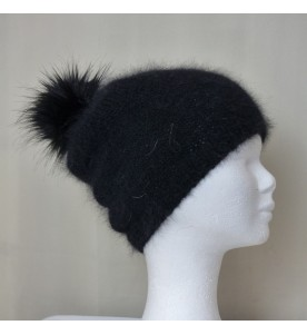 Bonnet Pompon Angora noir tricoté main