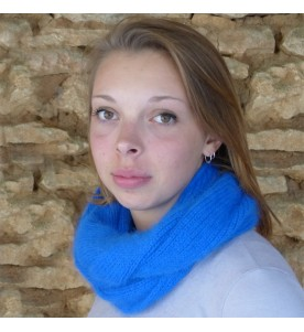 Snood 80% Angora Bleu dur