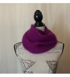 Snood 80% angora Lie de vin