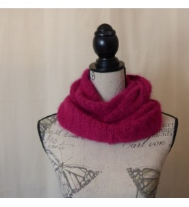 Snood 80% angora Rouge chiné