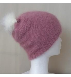 Bonnet Angora couleur Bois de rose